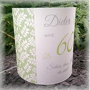 4er Set Tischlicht Tischlichter Blätter runder Geburtstag 40 50 60 70 80 90 Tischdeko personalisierbar grün
