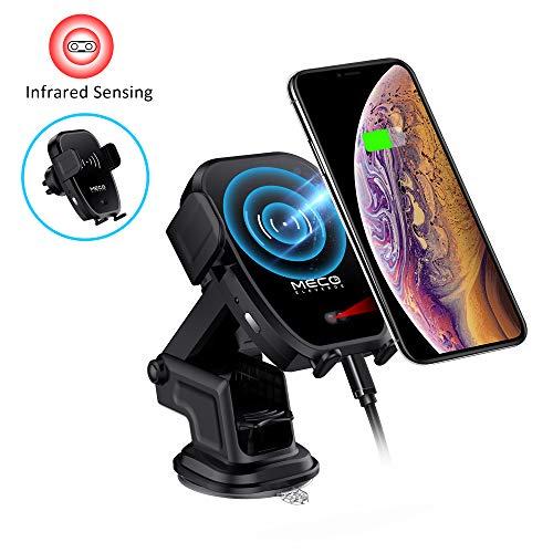 MECO Caricatore Wireless Auto a Infrarossi 10W Caricabatteria Senza Fili Veloce Qi Ricarica Rapida per iPhone XS/XS Max/XR/X/ 8p/ 8 Samsung Galaxy Note 9/ Note 8/ S9/ S8, Galaxy Buds Non Compatib