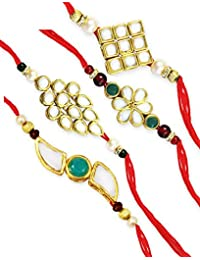 Karatcart GoldPlated Kundan Rakhi for Brother