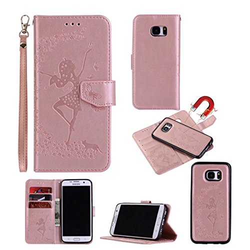 Abnehmbare 2 in 1 Crazy Horse Texture PU Ledertasche, Fairy Girl Embossed Pattern Flip Stand Case Tasche mit Lanyard & Card Cash Slots für Samsung Galaxy S7 Edge ( Color : Rosegold ) Rosegold