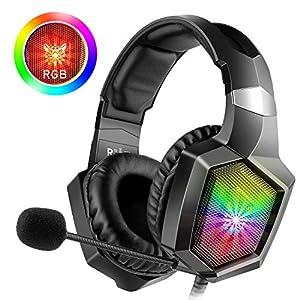 WillNorn K8 Gaming Xbox One Headset Over-Ear-Kopfhörer mit Mikrofon, LED-Licht, Bass-Surround, weicher Memory-Ohrenschützer, Lautstärkeregler für Xbox One/PC/Mac/Tisch/Handy