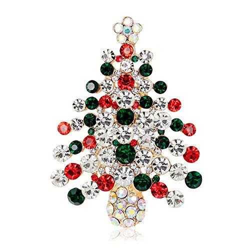 LANMPU Broschen Frauen Herren Weihnachtsbaum Kristall Weihnachten Brosche Xmas Geschenk für Weihnachtsschmuck Ornaments Geschenke