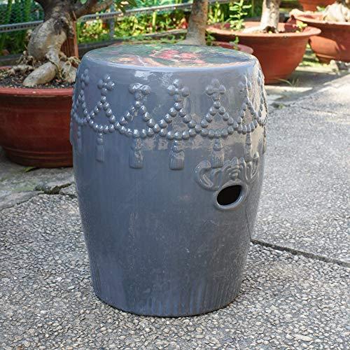 International Caravan Quaste Drum Keramik Garten Hocker Gey -