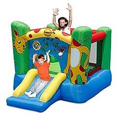 Idea Regalo - Happy Hop - Castello Gonfiabile a Forma di Giraffa, con Scivolo, 280 x 210 x 160 cm, incl. picchetti per Ancoraggio e Kit di Riparazione