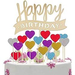 MOOKLIN 51 Unidades Decoraciones para Pasteles Cake Topper, Hecho a Mano Happy Birthday Pastel Decoración con Corazon en Cinco Colores para el Aniversario de Bodas del Partido