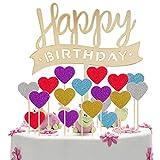 MOOKLIN Topper per Torte Happy Birthday, Decorazione per Torte e Cupcake con Cuore in Cinque Diversi Colori, realizzate a Mano per Feste di Compleanno, 51 Pezzi