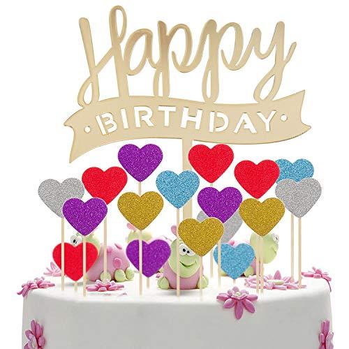 MOOKLIN 51 Stücke Geburtstagstorte Topper Set 1pcs Kuchen Deko Acryl Happy Birthday + 50pcs Glitzer Herz Cake Topper in fünf Farben für Motto Party Geburtstag Kuchen Dekoration