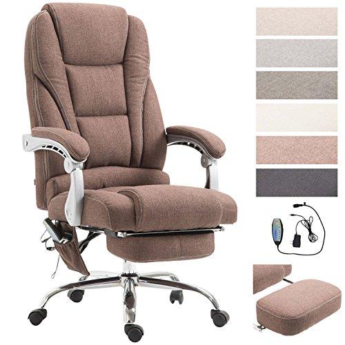 CLP Chefsessel Pacific Stoff mit Massagefunktion l Höhenverstellbarer Bürostuhl mit ausziehbarer Fußablage l Max. belastbar bis 150 kg Braun