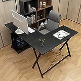 DlandHome L Scrivania del Computer 120 CM + 110 CM Ufficio a casa PC Portatile Workstation di Studio Tavolo angolare con Supporto CPU, Noce Nero
