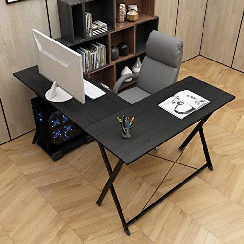 DlandHome L Mesa Escritorio de la computadora 120cm+110cm, Ordenador Portátil para PC Estación de Trabajo de Estudio Mesa de Esquina con CPU Stand, Negro & Negro