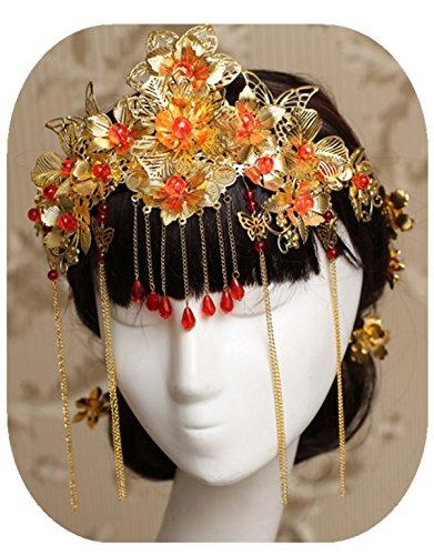 Handgefertigt Golden Chinesische Cheongsam Kostüme Rot Krone Drache und Phoenix Retro Florals Schmetterling Hochzeit Kopfschmuck Ornaments Haarnadeln