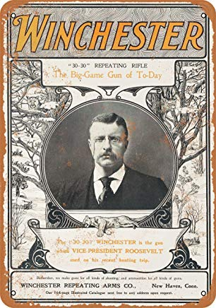 Iron Painting Signs Home Decor 7 X 10 Metal Sign 1901 Teddy Roosevelt for Winchester Rifles Vintage Look