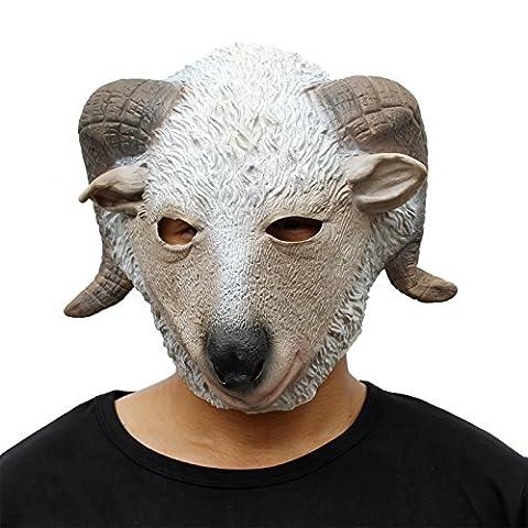 CreepyParty Deluxe Neuheit-Halloween-Kostüm-Party-Latex-Tierkopf-Schablone Masken Ziege