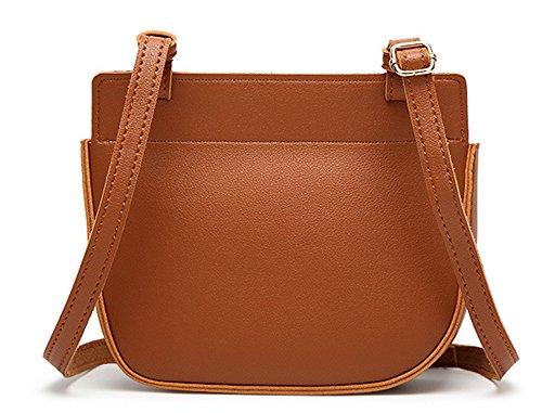 Xinmaoyuan Borse donna borsa a tracolla fibbia magnetica retrò Messenger Bag Pu quadrato piccolo sacchetto,Nero Brown