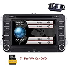 Eincar Car DVD CD Player Double 2 Din Headunit In Dash 7 Inch Touch Screen Autoradio GPS Navigator for VW Car Stereo with Bluetooth FM AM RDS 8GB/256MB Free Update on European Map for Live (Rear View Camera included)