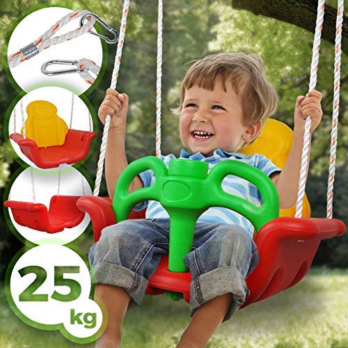Infantastic Kinderschaukel 3 in 1 - aus Kunststoff, mit Rückenlehne, verstellbar, max. Belastung 25 kg - Babyschaukel, Schaukelsitz, Brettschaukel, Kleinkindschaukel, Gitterschaukel
