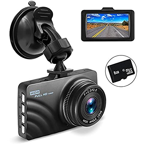 OldShark Dash Cam with 8GB SD Card, 1080P Full HD Car Camera Dashboard Video Recorder 4-Lane Wide-Angle View Lens with Night Vision, G-Sensor, Loop Recording, Motion Detection, Parking