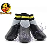 Foodie Puppies Dog Waterproof Anti-Slip Paw Protector Soft Protective and Skid-Proof Socks (Black-Yellow, Medium, Size 4)