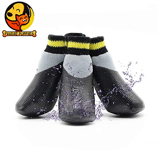 Foodie Puppies Dog Waterproof Anti-Slip Paw Protector Soft Protective and Skid-Proof Socks (Black-Yellow, Small, Size 3)