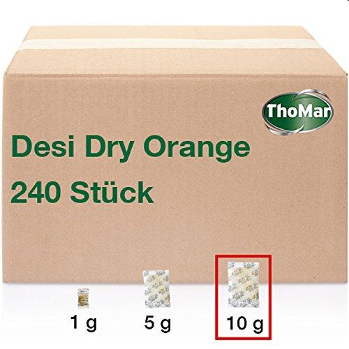 Desi Dry Orange | 10 Gramm | 240 Stück | Silica-Gel | Silika-Gel | Trockenmittel-Beutel mit Indikator | karton-verpackt (Industriemenge) | weitere Größen erhältlich