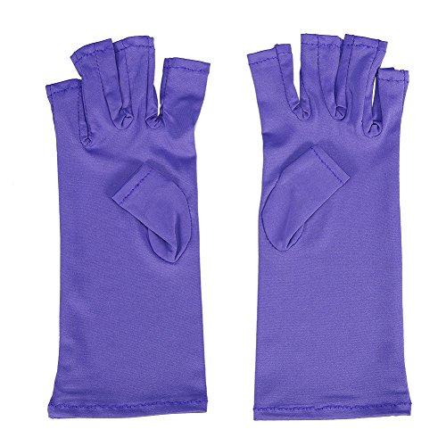 UV Handschuhe - Delaman Maniküre Handschuhe Anti-UV für Gel Nagellack mit UV Lampe/Nagel Trockner Zehenfreie (Color : Purple)