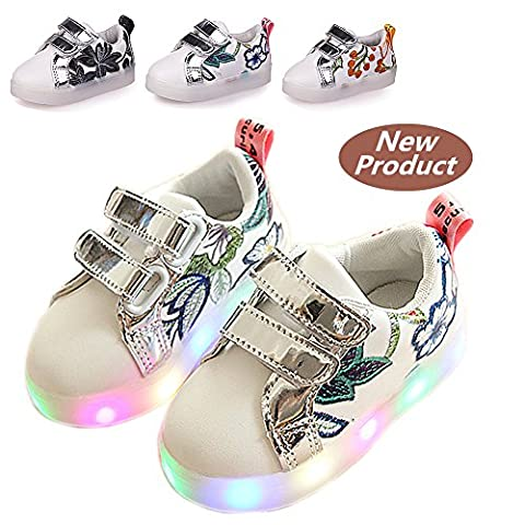 Chaussures Enfant, Chickwin LED Chaussures Lumineuse Bébé Enfant Unisexe Confortable Sneakers Clignotant LED Chaussures (25 / Mesure à l'intérieur (cm) 15.5, Rouge)