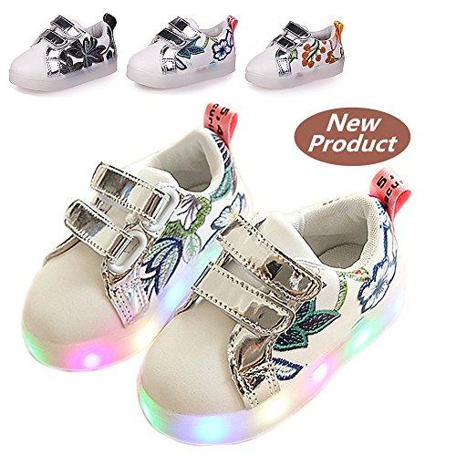 Kinderschuhe, Chickwin Baby LED Kinderschuhe Unisex Weich Und Bequem Rutschfest Bunte LED-Leuchten Schuhe SportSchuhe Flashing Schuhe (27 / Maß Innen (cm) 16.5, Rot) (Leuchten Tennis Schuhe)