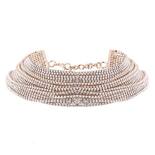YESMAEay Frauen Halskette Retro Stil mehrschichtige Hängende Halskette Kette Kostüm Schmuck Halskette Körperschmuck Gold Farbe