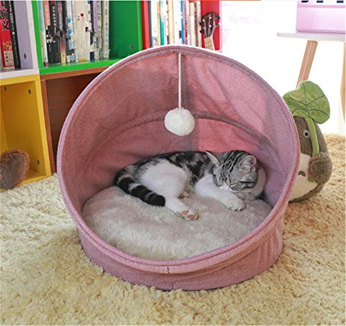 YZ66 Cat Sleeping bag Small Dog Nesting Bed Met House With a Ball Double face cushion (45 * 45 * 43cm / 17.7 * 17.7 * 17 in, Pink)