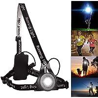 Éclairage Pour Course, Myguru Lampe de Poitrine pour Course Rechargeable USB 3 Mode d'éclairage,A Une lumière Rouge sur Le Dos avec la sécurité,Parfait pour Les Coureurs de Nuit