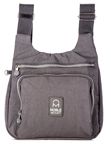Noble Mount Crinkle Nylon 'Vagabond' Cross-body Handtasche - Dunkelgrau (Crinkle Handtasche Nylon)