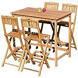ASS XXL Bar Set Teak Bartisch Bistrotisch Stehtisch 120x70cm mit 4X Barhocker klappbar Holz BIMA-SET120+4KLAPP von