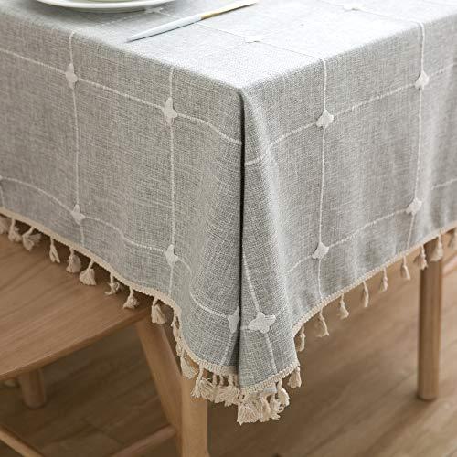 Furnily Tischdecke Boho Tischdecken Elefanten Dekor Tischdecken Polyester Wasserdicht Tischdecke Grey-Grid, 140 x 200 cm (Tischdecke Dekor)