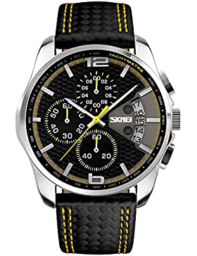 einzigartige beiläufige Quarz der Männer drei Sub-Zifferblätter Multifunktions schwarz gelb Leder Uhr-Sport-Outdoor-Uhr
