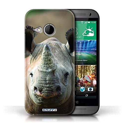 Hülle Für HTC One/1 Mini 2 Wilde Tiere Nashorn Design Transparent Ultra Dünn Klar Hart Schutz Handyhülle Case