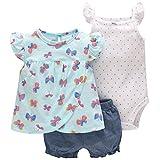 JiAmy Bebé Niñas Vestido de Manga Corta + Pantalones Cortos + Body, 3 Piezas Conjuntos de Ropa, 3-6 Meses