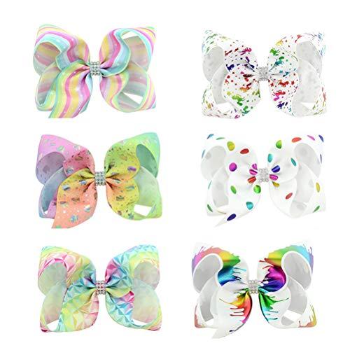 en Haarnadel Rainbow Ripsband Haarschleife Clips Haarspangen für Kleinkinder Mädchen, 6 Stück ()