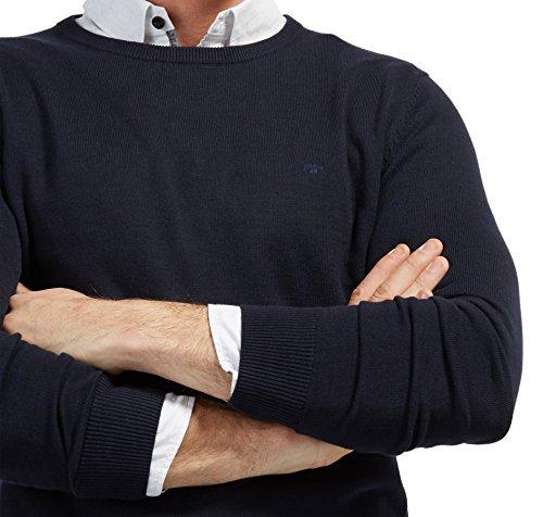 TOM TAILOR Herren Pullover Basic Crew-Neck Sweater Blau (Knitted Navy 6800)