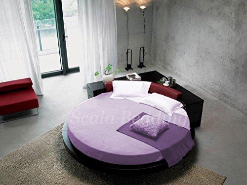 'SCALABEDDING rund Bettlaken mit Kissenbezüge 400TC 100% ägyptischer Baumwolle Königin 84Durchmesser Solide Lavendel -