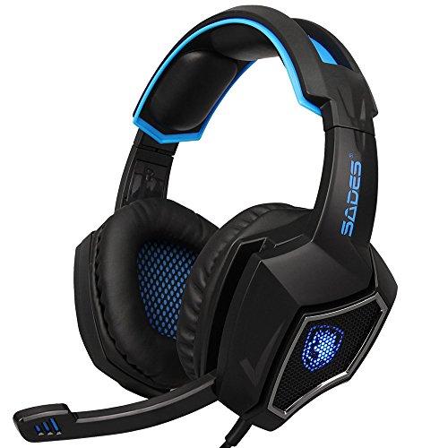 doco Oler Sades R9?PC Gaming Auriculares Auriculares de 3,5?mm engancharse través de oído Parte Auriculares con micrófono LED Luz Volumen para PC Laptop PS4?Nueva Xbox One