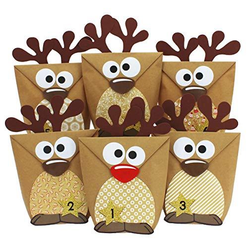 Papierdrachen DIY Adventskalender zum Befüllen - Rentiere mit braunen Bäuchen zum selber Basteln - 24 Tüten zum individuellen Gestalten und zum selber Füllen - Weihnachten 2019 für Kinder