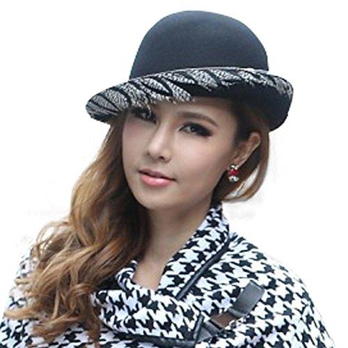 June's Young Femme Chapeau De Style fedora de feutre laine Rétro Classique chapeau à bords relevées Noir