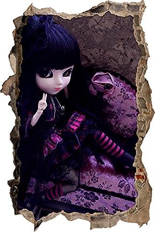 Punk Pullip doll rose-noire percée de mur en 3D look, mur ou format vignette de la porte: 62x42cm, stickers muraux, sticker mural, décoration murale