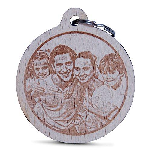Wogenfels - Holz Schlüsselanhänger rund mit Fotogravur | Das Geburtstags-Geschenk mit individueller Gravur für Frauen und Männer | Personalisierter Schmuck | QUALITÄT und Support aus Österreich - Geburtstag Meinen Buchen