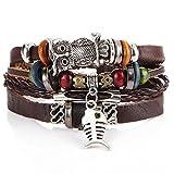 Fogun Armbänder, Männer Frauen handgemachte Leder Armband geflochten Armreif Armband Set