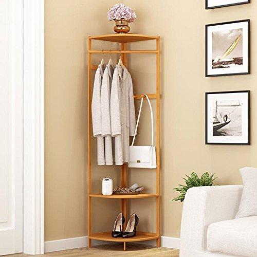 HUISHUAI Eckgarderobe, Schlafzimmer, Bambus Kleiderablage, Moderne minimalistische Wohnzimmer Kleiderbügel , wood color