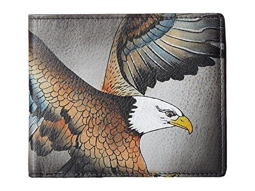 ANUSCHKA Herren Handbemalte RFID blockende Leder Klapp Geldbörse, Einheitsgröße, American Eagle -