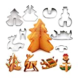 Pawaca Christmas Cookie Molds,3D Christmas Cookie cutter set,8 pezzi in acciaio...