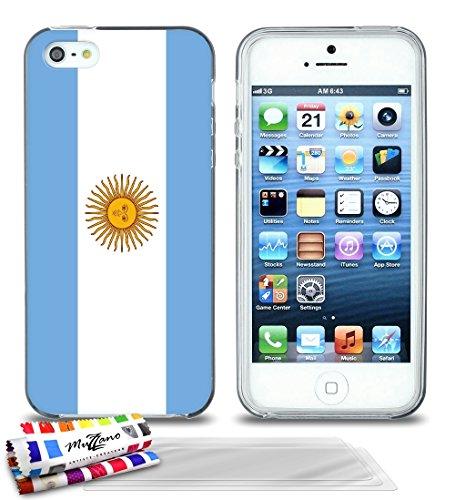 Ultraflache weiche Schutzhülle APPLE IPHONE 5S / IPHONE SE [Flagge Argentinien] [Grau] von MUZZANO + STIFT und MICROFASERTUCH MUZZANO® GRATIS - Das ULTIMATIVE, ELEGANTE UND LANGLEBIGE Schutz-Case für  Grau + 3 Displayschutzfolien