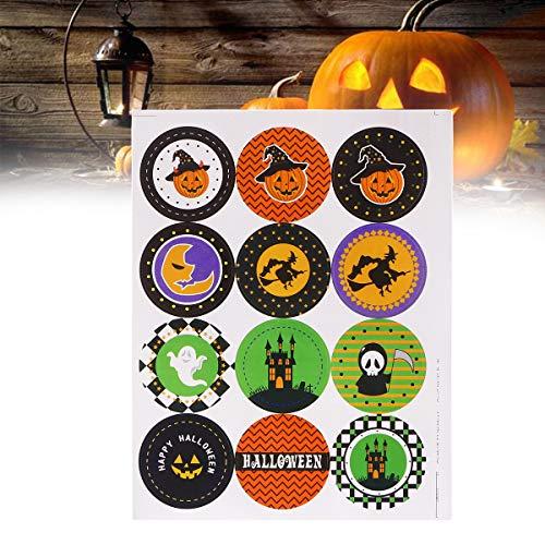 Aufkleber-Schläger-Schädel-runde Süßigkeits-Aufkleber-glückliche Halloween-Partei-Bevorzugungs-Aufkleber für Dekoration 10pcs (Glücklichen Taschen Halloween)